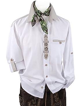 Top-Quality - Trachtenhemd Herren Langarm/Kurzarm - mit Edelweiß - Komfort Reine Baumwolle - Weiß