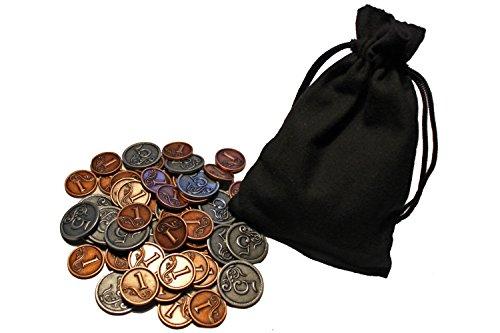 60 Spielmünzen aus Metall - 1er und 5er - Silber und Bronze - im Baumwollbeutel -