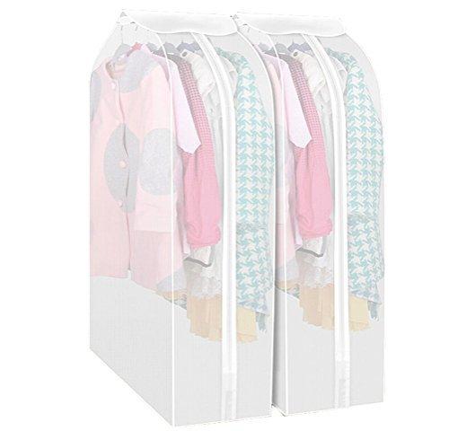 Kleiderschutzhülle Transparent Set mit 2 Staubschutz Anzug Mantel mit Reißverschluss Kleidung Lagerung Hängetasche (30*60*108cm)