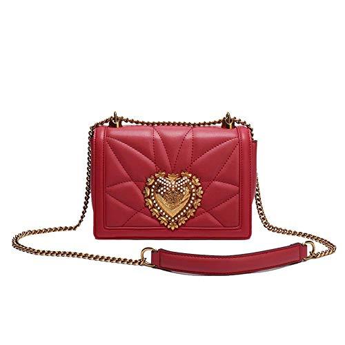 Damen Umhängetasche - Mode Leder Europa und Amerika Kette Umhängetasche Mini Diagonal Cross Bag Small Square Bag (Schwarz, Weiß, Rot)