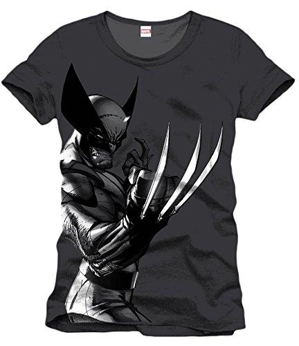 Wolverine - T-shirt del super eroe della Marvel - Comic Style col licenza ufficiale - Nero Carbone