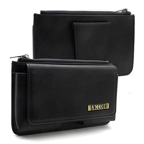 VMOJO Universal Retro Leder Multifunktions Klettverschluss Reißverschluss Geldbörse | Outdoor Gürtelschnalle Tasche | Für 5,2