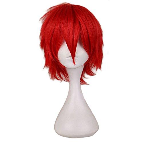 Kurze Kostüm Party Cosplay Perücke Rot 30 Cm Hitzebeständige Synthetische Haar Volle Perücken 12 inch (Indianer Kostüm Männlich)