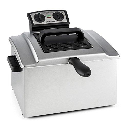 Klarstein QuickPro XXL 3000 • friggitrice • 3000 W • 5 L • fino a 1,5 Kg • fino a 190° C • 3 cestelli da frittura • 3 prese • timer • principio zone fredde • pulizia semplice • acciaio inox • argento