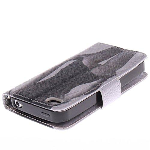 Etui Phone4/4s, KATUMO® Pochette Protection Apple iPhone 4s Coque Cuir Portefeuille Housse Rabat pour iPhone4s Cover Case-Lion #1Sexy Fille