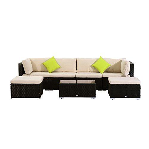Outsunny® Poly-Rattan Loungeset 21tlg. Rattan Garten-Set Sitzgruppe Loungemöbel Sofa mit Sitzkissen