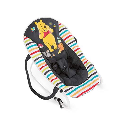 *Hauck / Babywippe Rocky von Disney / Schaukelfunktion / verstellbare Rückenlehne, Sicherheitsgurt und Tragegriffe / ab Geburt bis 9 kg verwendbar / kippsicher und tragbar, Pooh Geo (Schwarz)*