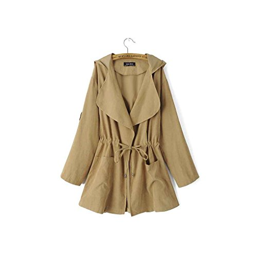 Babysbreath Womens Hooded Trench Coat Drawstring Elastische Taille Tasche Turn-Down Kragen Langarm Mid Jacket Khaki S