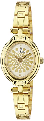 Titan Women's Analog Gold Dial Watch