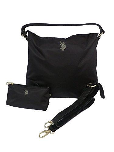 US Polo Assn Tasche Große schwarze Grays Wohnung Hobo Schwarz