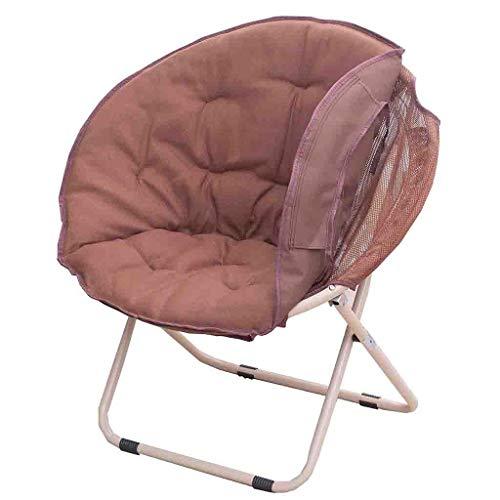 KHL Multifunktionaler Abnehmbarer Mond-Klappstuhl, einfacher tragbarer leicht zu reinigender Sonnenstuhl, fauler Stuhl (Farbe : Braun)