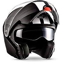 """Moto Helmets® F19 """"Racing Black"""" · Motorrad-Helm · Klapp-Helm Modular-Helm Flip-up Roller-Helm · ECE Sonnenvisier Schnellverschluss Tasche M (57-58cm)"""