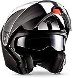 """Moto Helmets F19 """"Racing Black"""" · Motorrad-Helm · Klapp-Helm Modular-Helm Flip-up Roller-Helm · ECE Sonnenvisier Schnellverschluss Tasche S (55-56cm)"""