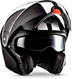 "Moto Helmets® F19 ""Racing Black"" · Motorrad-Helm · Klapp-Helm Modular-Helm Flip-up Full-Face · ECE Sonnenvisier Schnellverschluss Tasche XL (61-62cm)"