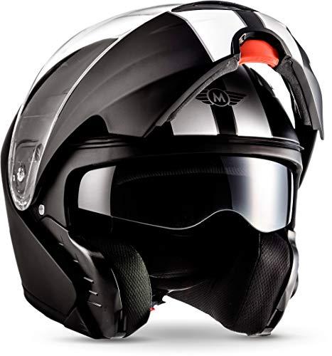 "Moto Helmets® F19 ""Racing Black"" · Motorrad-Helm · Klapp-Helm Modular-Helm Flip-up Integral-Helm Motorrad-Helm Roller-Helm Full-Face Cruiser · ECE Sonnenvisier Schnellverschluss Tasche XL (61-62cm)"