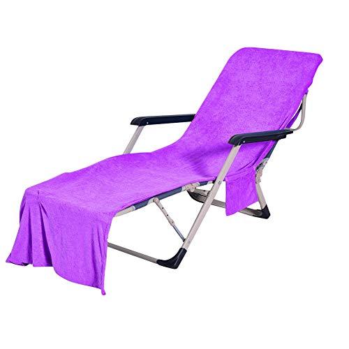 Housse de Chaise de Plage Serviette Transat Bain De Plage avec Poches de Rangement pour la Natation,Le Bain et l'entraînement Violet 73X210CM