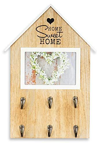 Bilderrahmen 25x37cm Haus Fotorahmen Bild 10x15cm Home Sweet Home 6 Haken Garderobe Schlüsselbrett Deko Wanddeko
