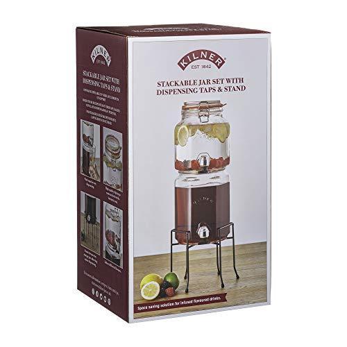 KILNER - Juego de tarros apilables con Grifo y Soporte, Transparentes, 5,2 litros