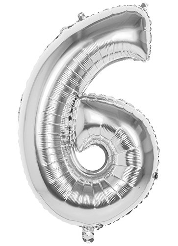 TH-MP XXL Folienballon Zahlen Geburtstag Jubiläum Abschluss Deko Party Feier Dekoration Ballons (Nr. 6 (86 cm), Silber)