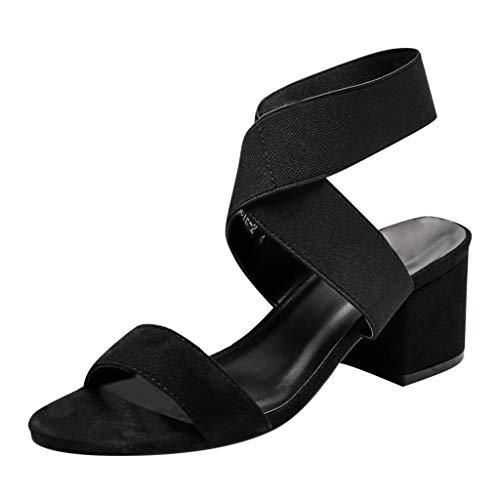 r Sandalen Bohemian Flach Sandaletten Sommer Strand Schuhe,Damenmode runden Kopf Sandalen Bequeme rutschfeste Sandalen Wild Sandalen ()