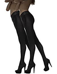 Marilyn blickdichte Hüftstrumpfhose mit 9 cm Spitze 1er oder 2er Pack, 100 Denier