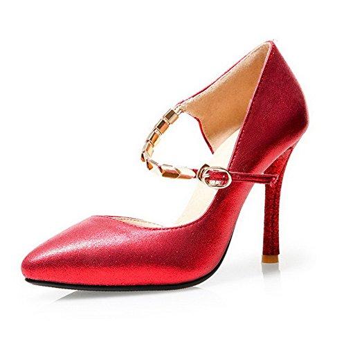 AllhqFashion Femme Pointu Boucle Pu Cuir Couleur Unie à Talon Haut Chaussures Légeres Rouge