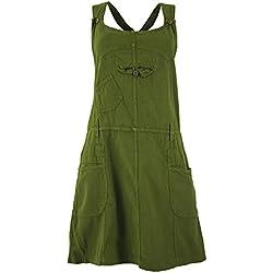 GURU-SHOP, Falda con Peto, Vestido con Tirantes, Falda Hippie, Olive, Algodón, Tamaño:L (40), Faldas Cortas