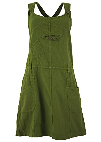 Guru-Shop Latzrock, Trägerkleid, Hippierock, Damen, Olive, Baumwolle, Size:L (40), Kurze Röcke Alternative Bekleidung