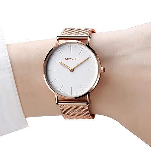 Damenuhr Thin Watch, Rotgold Damenuhr, Ultradünne wasserdichte einfache Uhren, Damenuhren auf Abstand, Quarz-Armbanduhren für Damen mit weißem Zifferblatt, Mesh-Band Uhren Damen (Voller Mädchen In Für Länge, Spiegel)