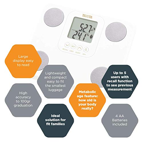 The Tanita BC730G body composition monitor helps you understand and monitor your body and your progress towards your goals. It tracks changes over time in your weight and body composition and shows readings on the two-line LCD screen which is clear a...