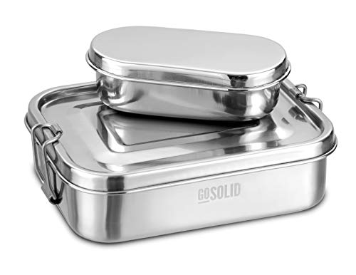 GoSolid Edelstahl Lunchbox Klein 750ml mit Snackbox | TÜV geprüft | 1 Fach mit Verschluss| Metall gebürstet | Brotdose | Vesperbox