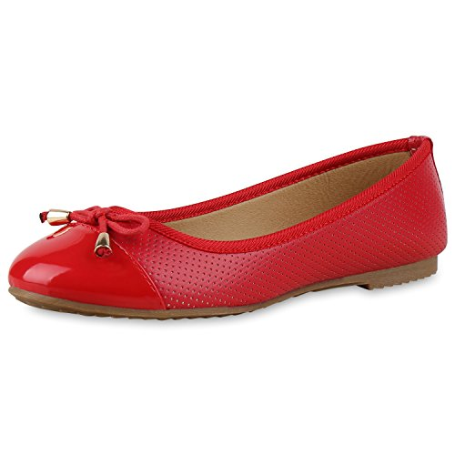 Klassische Damen Ballerinas Leder-Optik Slipper Flats Glitzer Metallic Party Abschlussball Hochzeit Damen Ballerinas Rot Rot 37 Jennika (Ballerinas Rote Glitzer)