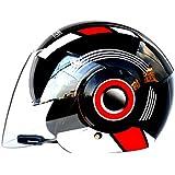Hombres Mujeres Casco de motocicleta Bluetooth de Media cara (500-3000Ma), Casco de motocicleta de Doble lente Anti empañamiento, forro de algodón extraíble Cascos de Motocross 57-62cm