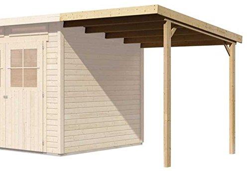 Karibu Schleppdach für Glücksburg 3 & 4 natur Außenmaß: 188 x 194 cm Dachstand: 190 x 236 cm Firsthöhe: 220 cm Pfosten: 5,4 x 9,5 cm Ausführung: naturbelassen