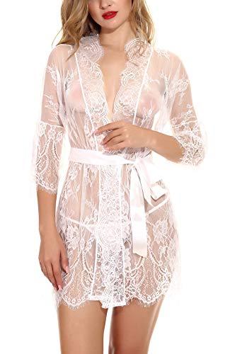 Feoya Damen Kleid Gown Kurz Dessous Kimono Spitze Weiter Ärmel Transparente Robe Mesh mit Gürtel und G-String Bikini Cover up Spitze Spitzenmantel Weiß L