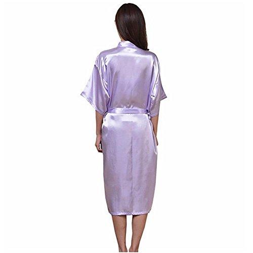 CHUNHUA Solide pyjama de soie couleur imitation nuisette soie peignoir survêtement (couleur en option) , pink , xxl Purple