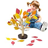 Happy Event Kinder Baby Holz Wooden Stitching Creativity Leaf Tree Lernen pädagogisches Spielzeug (Orange)