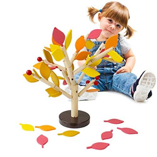 Happy Event Kinder Baby Holz Wooden Stitching Creativity Leaf Tree Lernen pädagogisches Spielzeug (Orange)