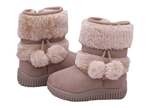 Oderola Enfant Bottes de Neige Hiver Fille Bébé Bottes d'hiver Fourrure Chaudes Antidérapant Sole souple Beige