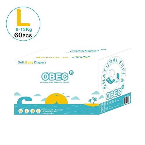 Mhxzkhl Bebé-Seco - Pañales para bebé con Canales de Aire, 9-13 kg, 60 pcs Pañales