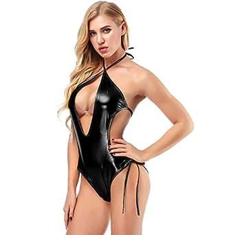 IWEMEK Women Wet Look Metallic Bodysuit Halter Shiny Jumpsuit Latex ... 1d146b718