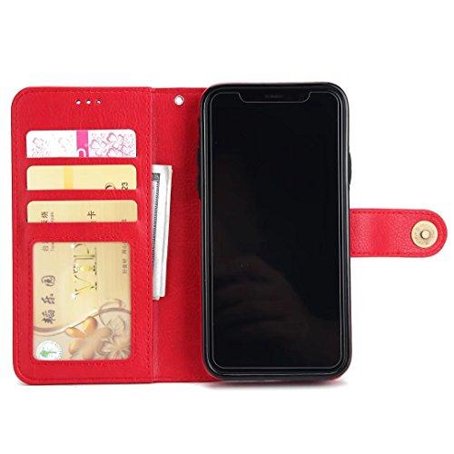 2 in 1 Abnehmbare Folio Beutel Brieftasche Stand Abdeckung Fall mit stilvolle Manetische Niet Verschluss Lanyard und Card Slots für iPhone X ( Color : Brown ) Red