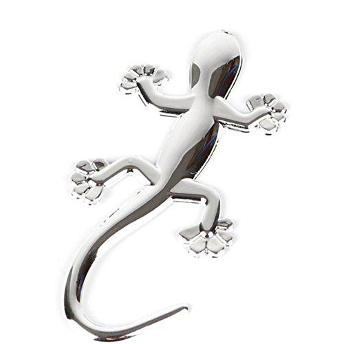Etiqueta engomada del Coche del patrón del Gecko de la Personalidad 3D 3pcs para los rasguños de la Cubierta (Plata) para Diario álbumes de Recortes Tarjetas