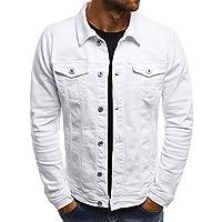 Men's Denim Jacket Autumn Button Solid Color Vintage Coat Tops Blouse
