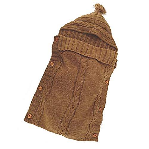 Neugeborenes Baby Gestrickt Wickeln Swaddle Decke Schlafsack Babydecke Pucktücher für 0-12 Monate Jungen oder Mädchen (Braun)