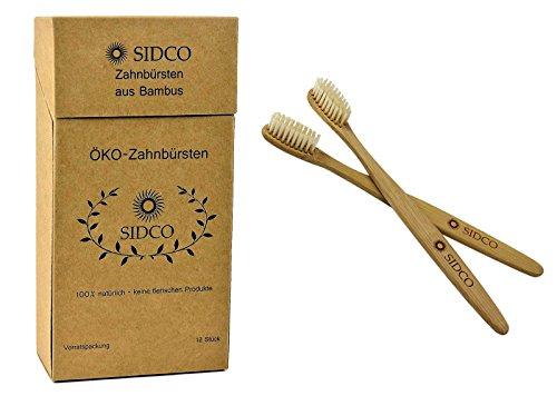 SIDCO ® 12 x Bambus Zahnbürste Sparset Bio Natur Zahnreinigung vegan Bambuszahnbürste