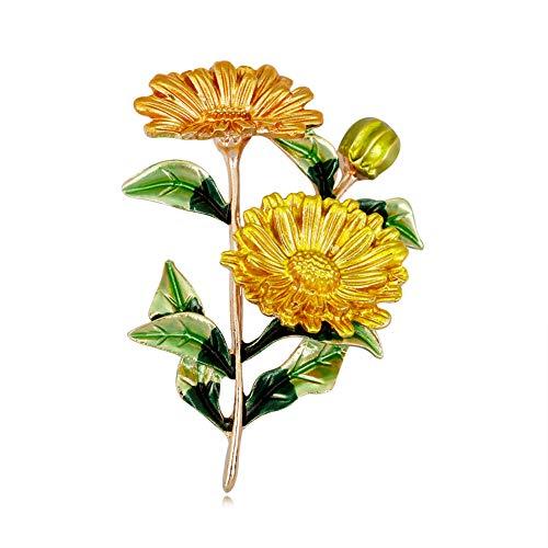 CAOLATOR Sonnenblume Brosche Damen Brooch Pin Vintage Blumen Broschen Frauen Enamel Nadel Anstecker Legierung Anstecknadeln Schmuck für Kleidung/Schals/Tücher/Ponchos/Hochzeit (Gelb)