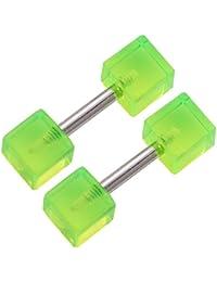 1 Paar Homme 4mm Goujons Dormeuses Vert Jauges richeur Cube Faux Oreille Bouchon Fake Plugs FWDI