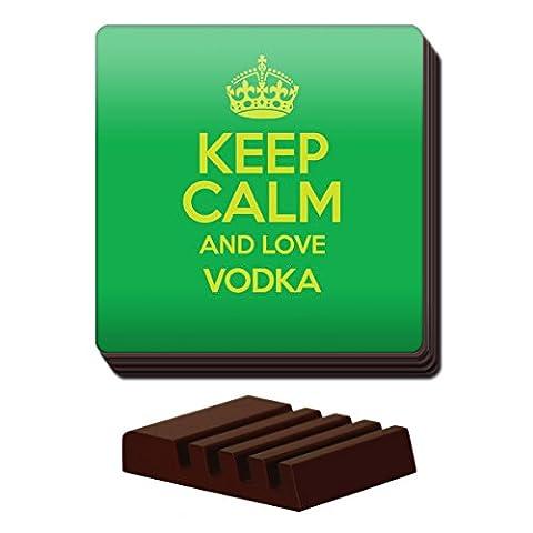 Grün Set von 4Keep Calm und Love Wodka Untersetzer Farbe 3120 (Grün Wodka)