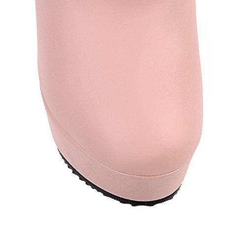VogueZone009 Donna Bassa Altezza Puro Cerniera Tacco Alto Stivali con Cappio Rosa